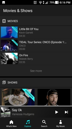 shows e filmes tidal