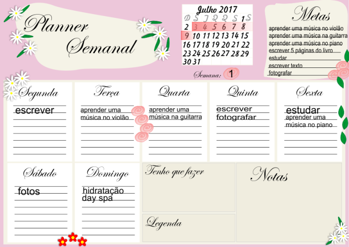 Meu planner semanal para as férias