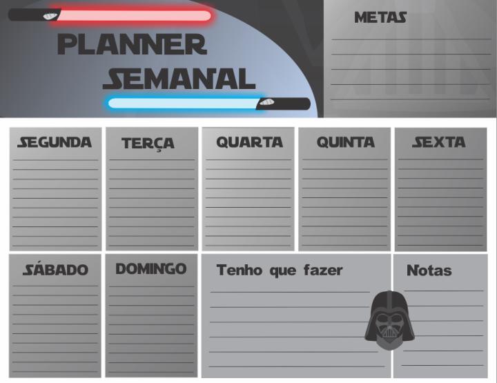 Planner Semanal Grátis – StarWars